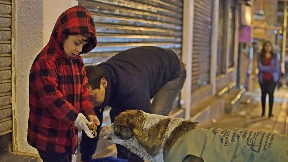 Ferchy and a child feed a stray dog