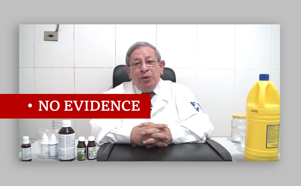 """Video of Paraguayan doctor recommending chlorine dioxide. Labelled """"no evidence"""""""