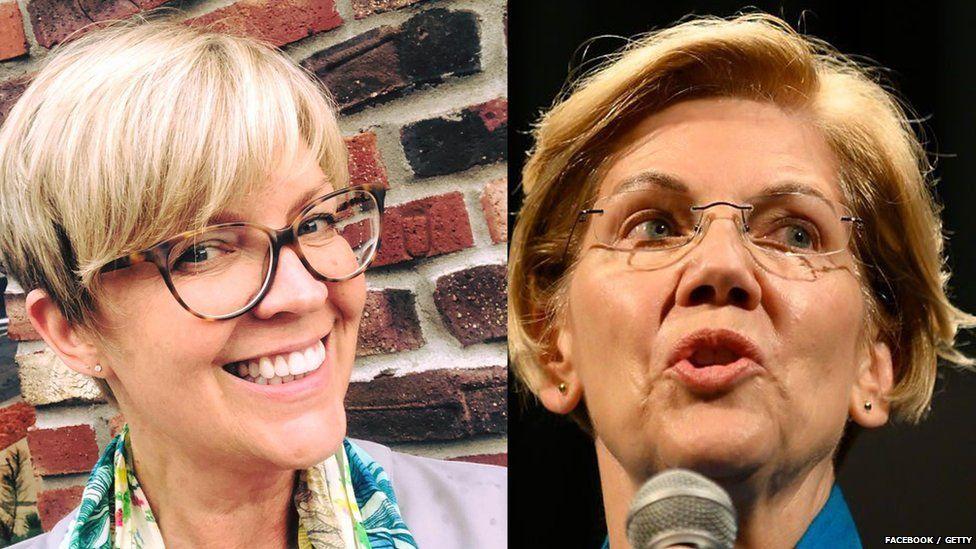 Stephanie Oyen (left) has been told she looks like US senator Elizabeth Warren