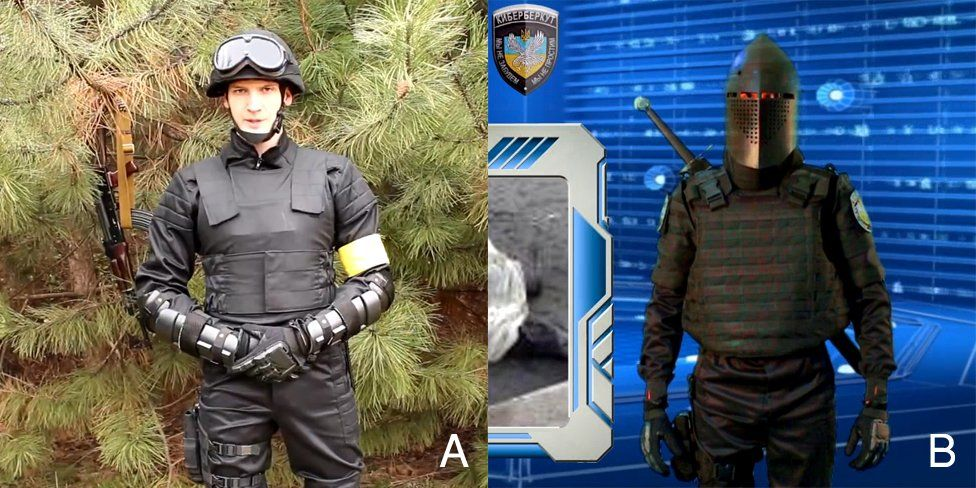 """A picture of Dalyant Maximus and one of him in a """"knight"""" uniform in videos released by the hacker group Cyberberkut"""