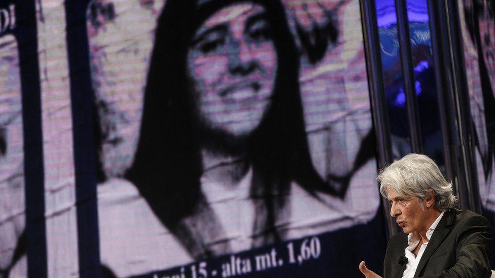 "Pietro Orlandi, brother of missing Emanuela Orlandi, attends Raiuno (RAI 1)""s Italian television show ""Porta a Porta"" on 31 October"
