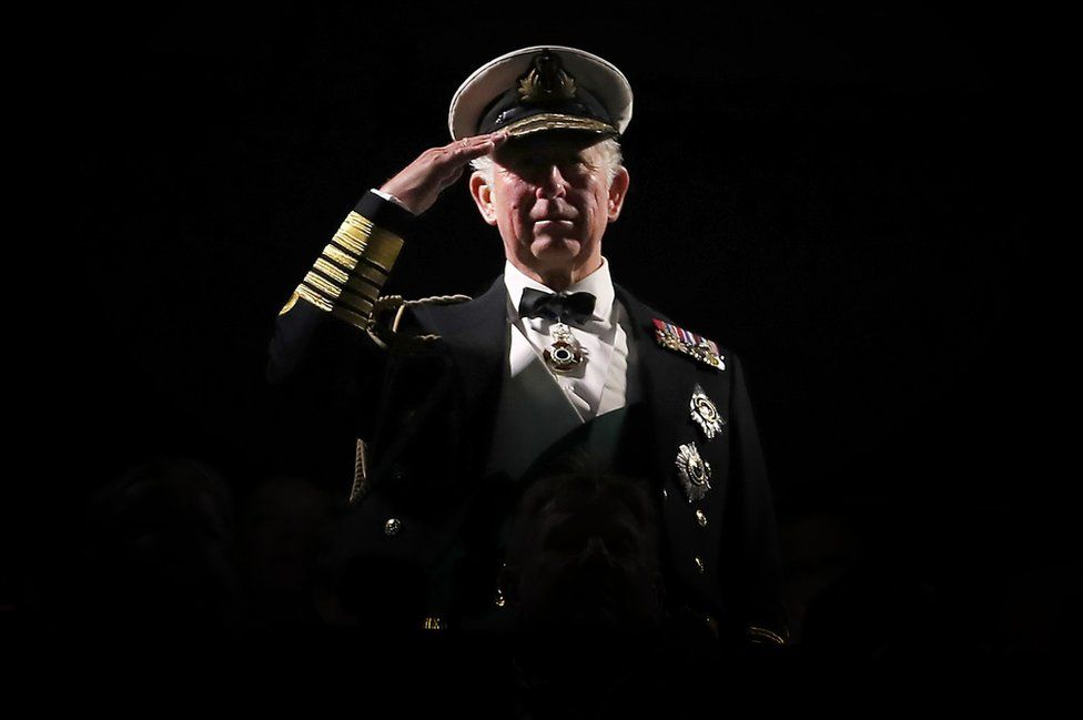 Prince of Wales takes the salute during the Royal Edinburgh Military Tattoo