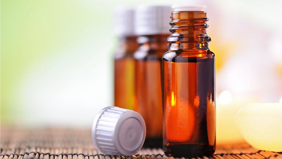 Essential oils in bottles