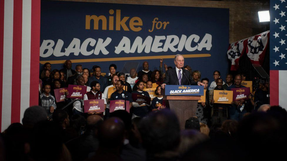 Mr Bloomberg campaigns for black voters in Houston, Texas on 13 February, 2020.