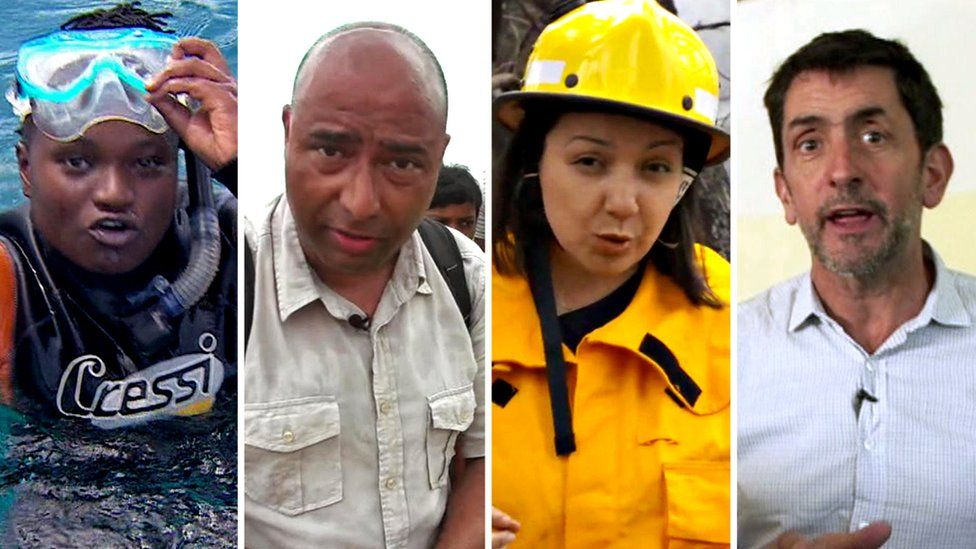 BBC reporters from left to right: Catherine Byaruhanga, Navin Singh Khadka, Shaimaa Khalil, Justin Rowlatt