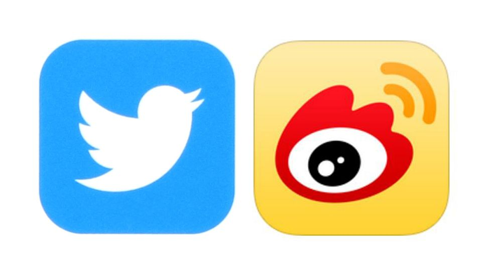 Twitter and Weibo logos