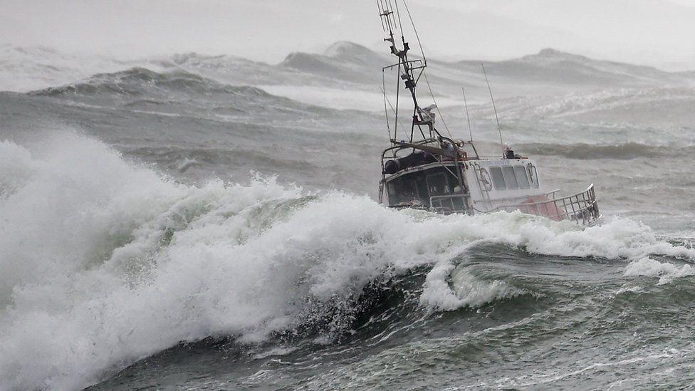 A sea rescue boat moments before it capsized, killing three crew