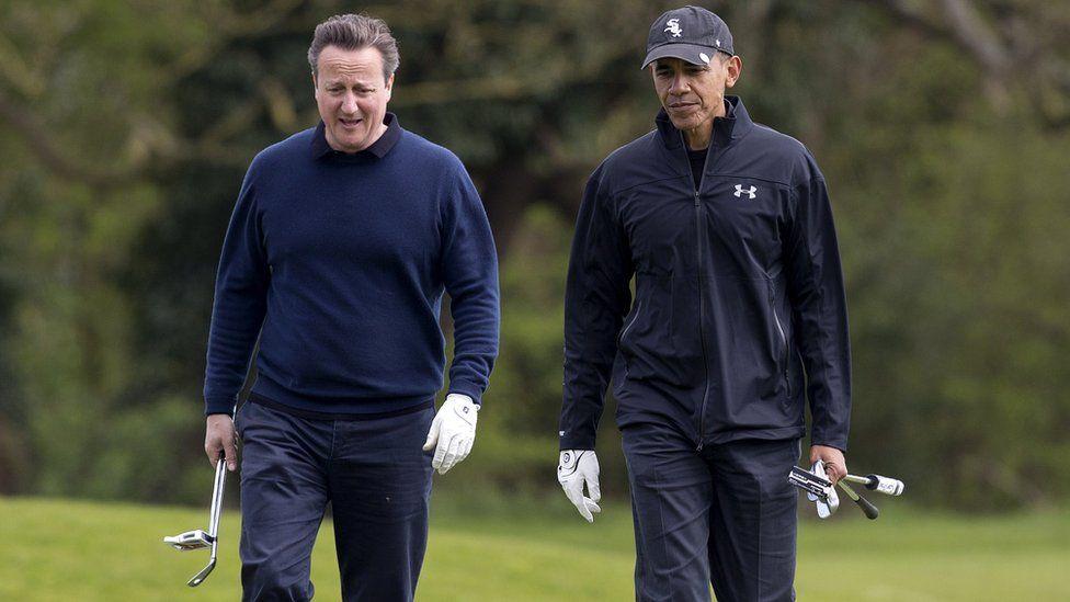 Mr Cameron and Mr Obama playing golf
