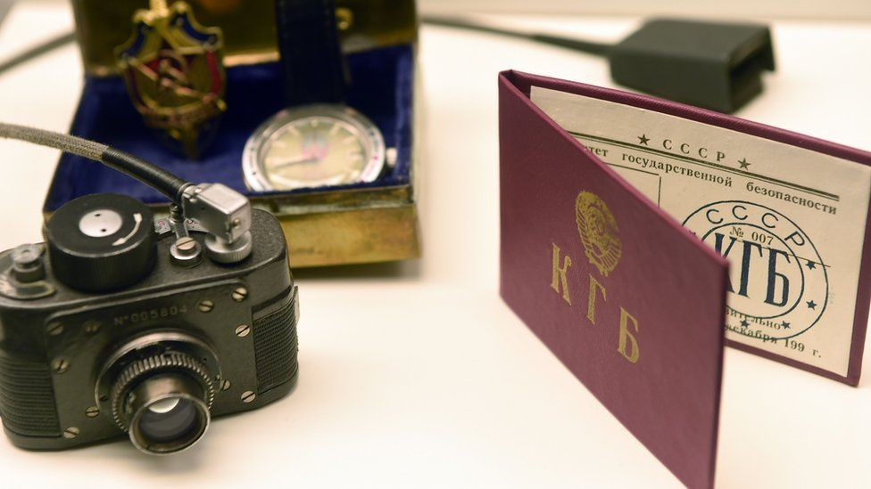 Paraphernalia belonging to KGB agent, including a minature camera, seen at the spy museum in Oberhausen, Germany