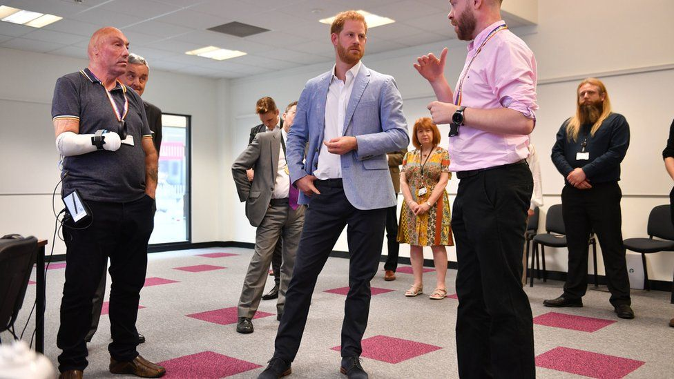 Duke of Sussex meets the team behind the VR rehabilitation project during a visit to Sheffield Hallam University