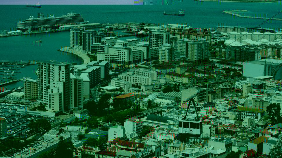 A cable car brings tourists down from the Rock of Gibraltar in Gibraltar