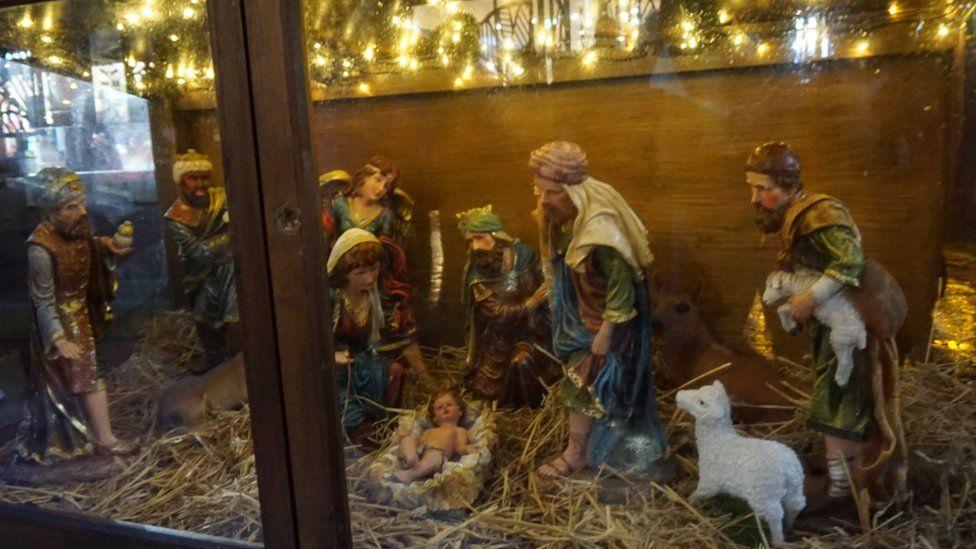 Nativity scene before baby Jesus was stolen
