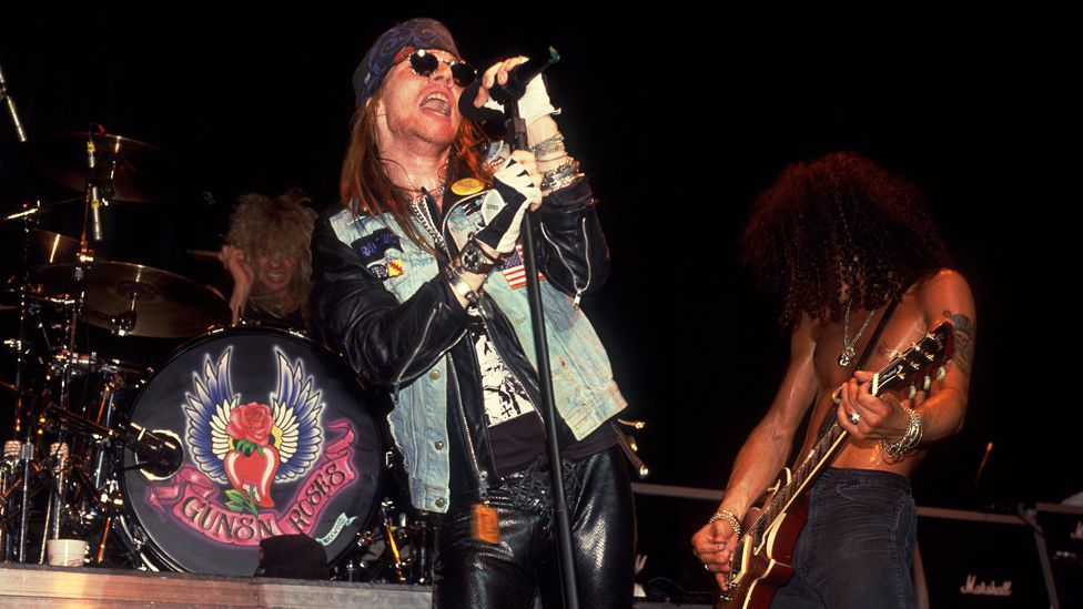 Guns N' Roses at the Poplar Creek Music Theater in Illinois in 1988.