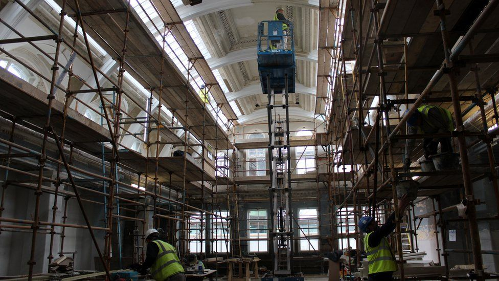 Construction works inside one of the drawing rooms