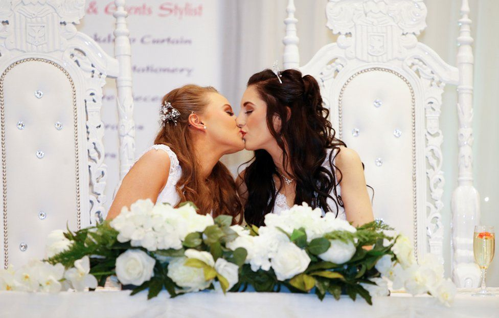 Robyn Peoples and Sharni Edwards a Belfast couple who are the first known same-sex couple to get married in Northern Ireland