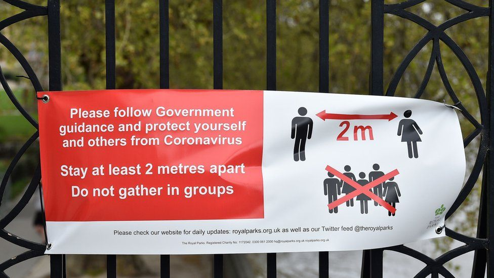 Sign in London park outlining government social distancing rules