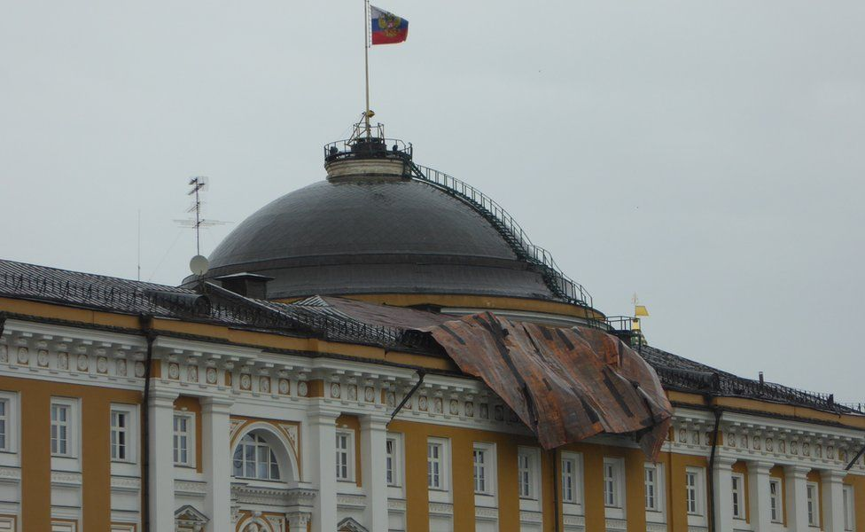 Damage to the roof of the Kremlin Senate building, taken by BBC News website reader John Wilkinson