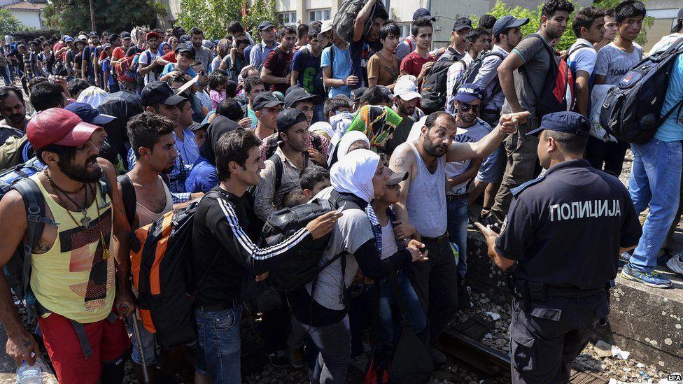 Migrants at Gevgelija station in Macedonia