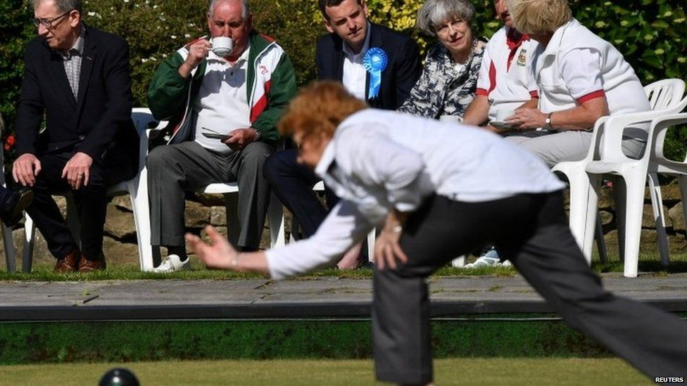 Theresa May and her husband Philip visits a bowls club during the election campaign