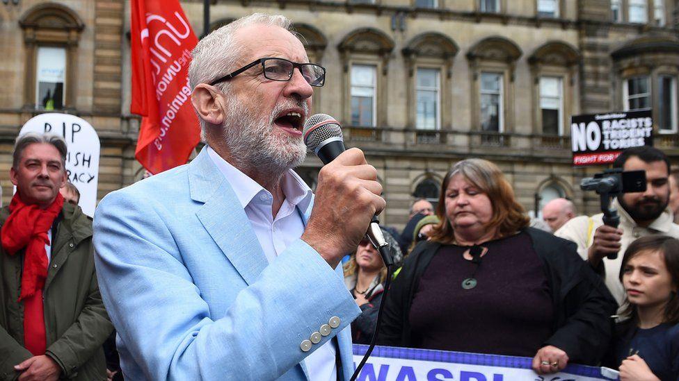Labour leader Jeremy Corbyn speaking in Glasgow
