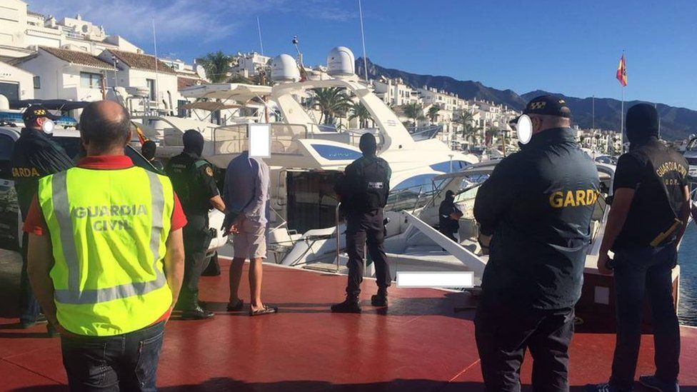 Police carrying out searches in Spain