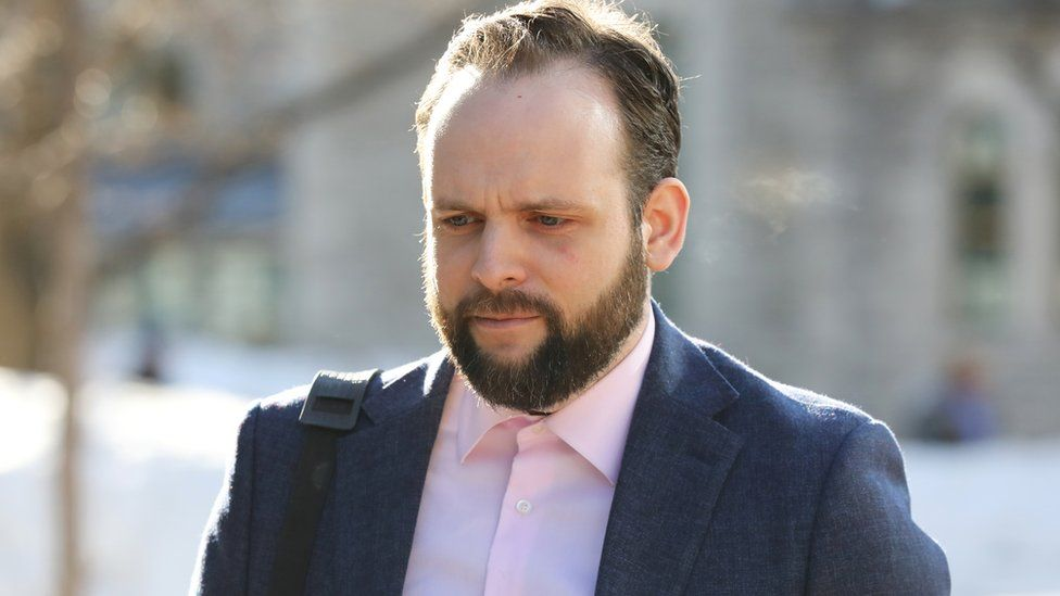 Joshua Boyle arrives for the first day of his trial at the courthouse in Ottawa, Ontario, Canada, March 25, 2019