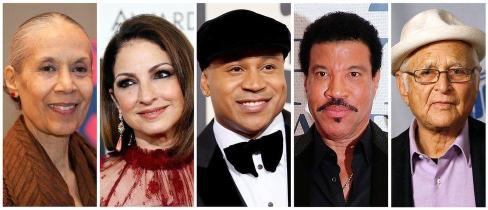 From left, Carmen de Lavallade, singer Gloria Estefan, hip-hop artist LL COOL J, Lionel Richie and TV producer Norman Lear