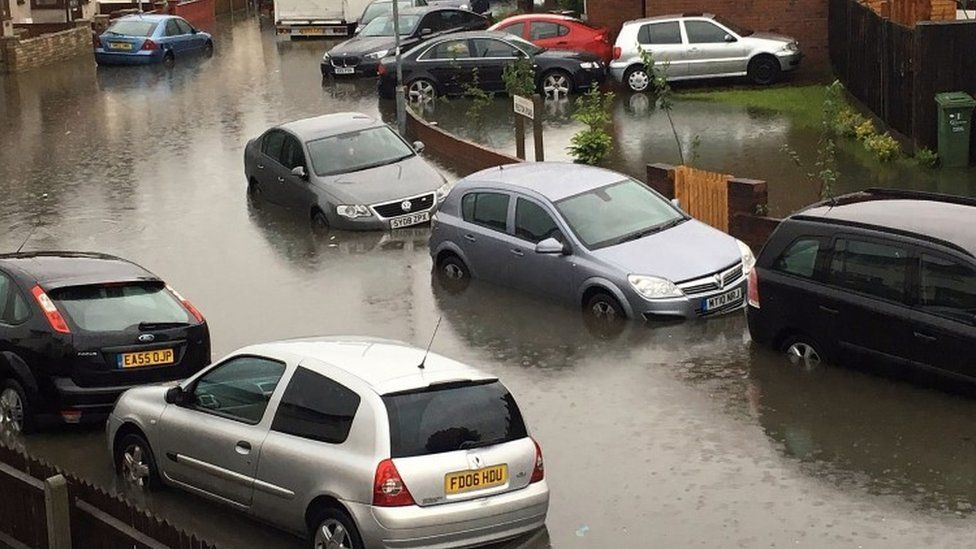 Cars flooded in Barking