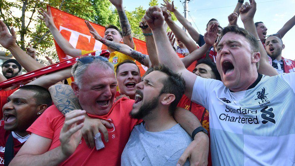 Liverpool FC fans in the fan zone in Kiev