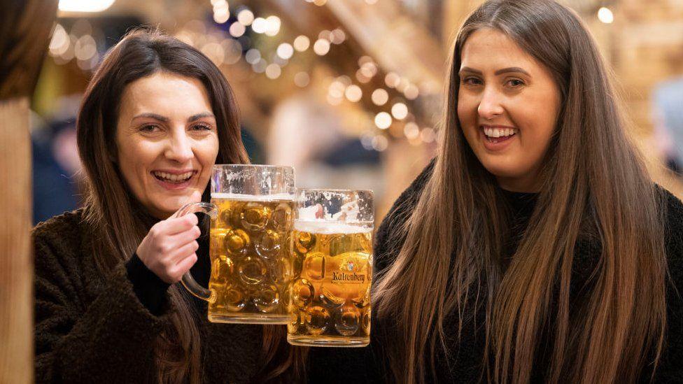 Women having a drink in Cardiff