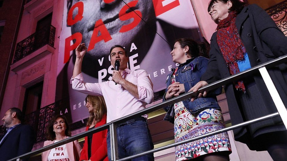 Prime Minister Pedro Sanchez addresses supporters outside PSOE headquarters in Madrid on April 28, 2019
