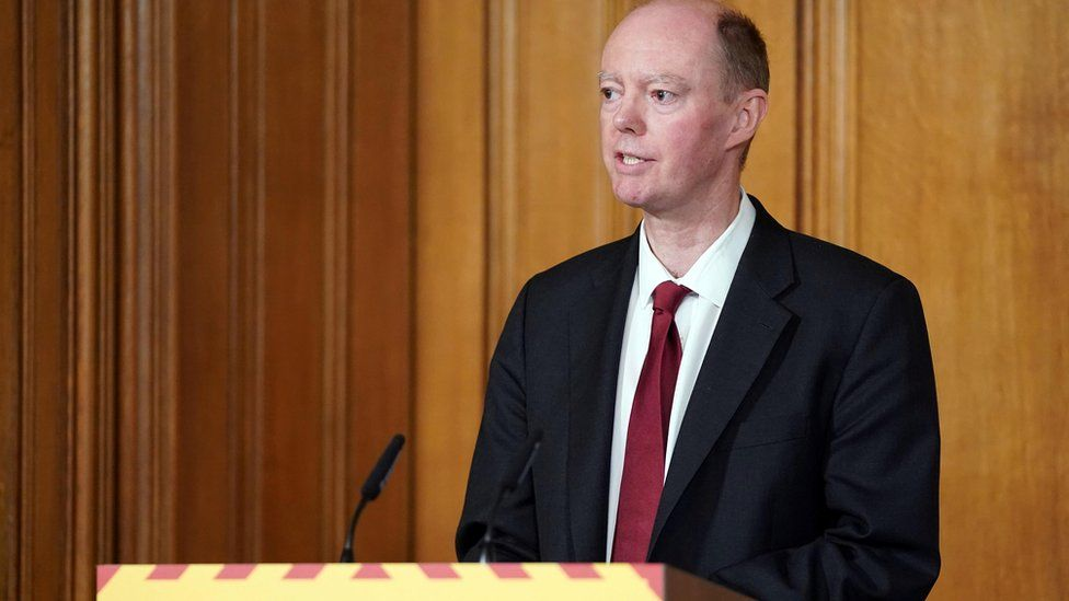 Chief Medical Officer for England Chris Whitty speaks during a COVID-19 Digital Press Conference at 10 Downing Street in London,