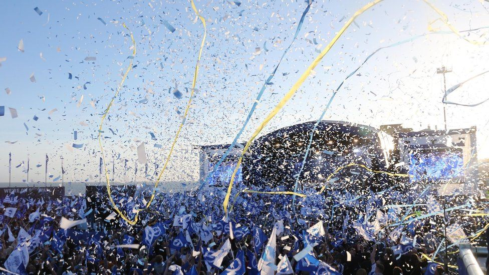 Brighton & Hove Albion fans celebrate after being promoted