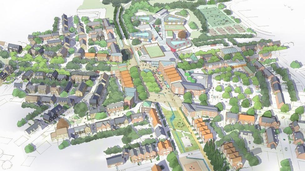 Illustrative view of new village in Bourn