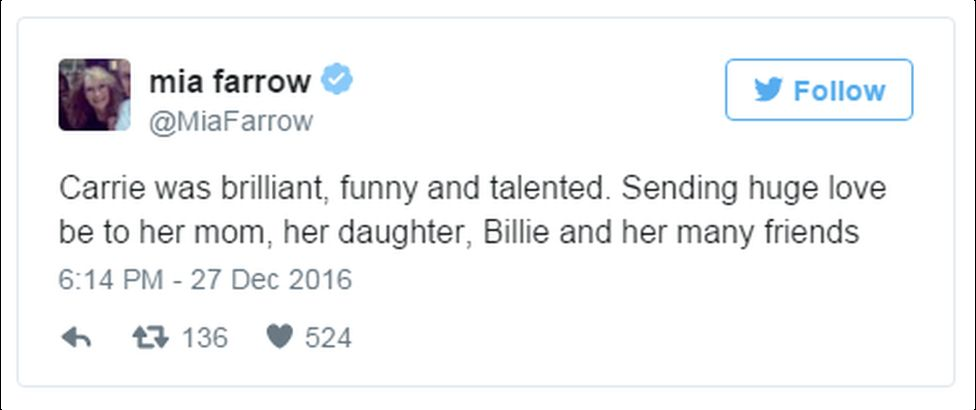 "A tweet reads: ""Carrie was brilliant, funny and talented. Sending huge love be to her mom, her daughter, Billie and her many friends"""