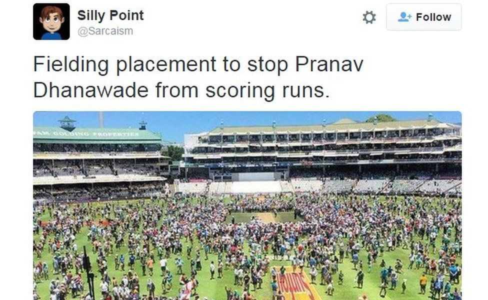 Silly point: Fielding placement to stop Pranav Dhanawade from scoring runs.