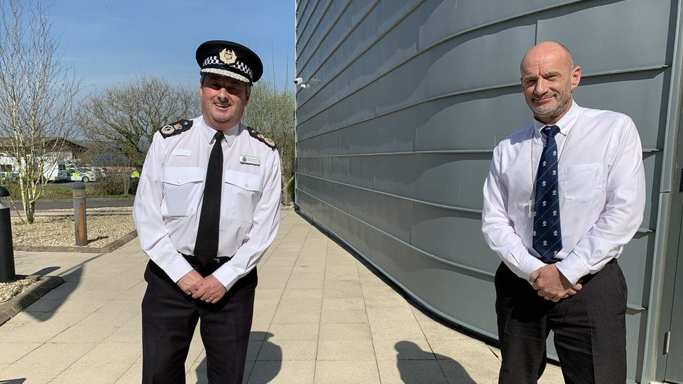 Chief Constable of DPP Mark Collins and Chief Executive of Pembs Council Ian Westley