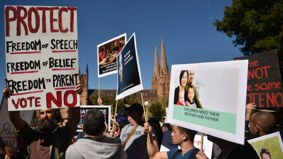 Protesters hold up banners at an anti-same-sex marriage rally in Sydney