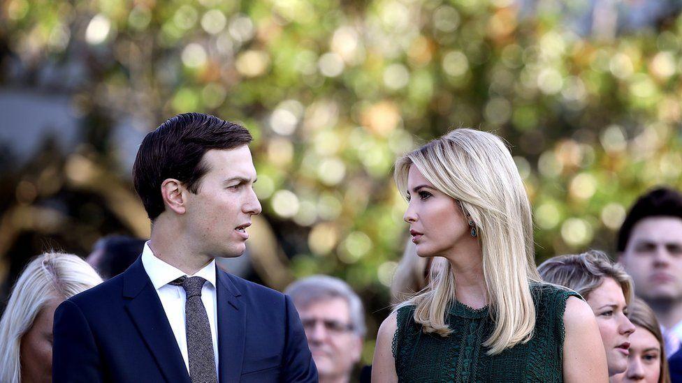 Jared Kushner (L) and Ivanka Trump (R) at the White House in September 2017.