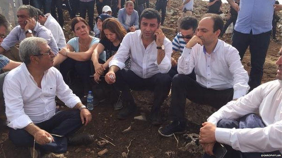 Photo tweeted by HDP MP Garo Paylan showing co-leader Demirtas and colleagues