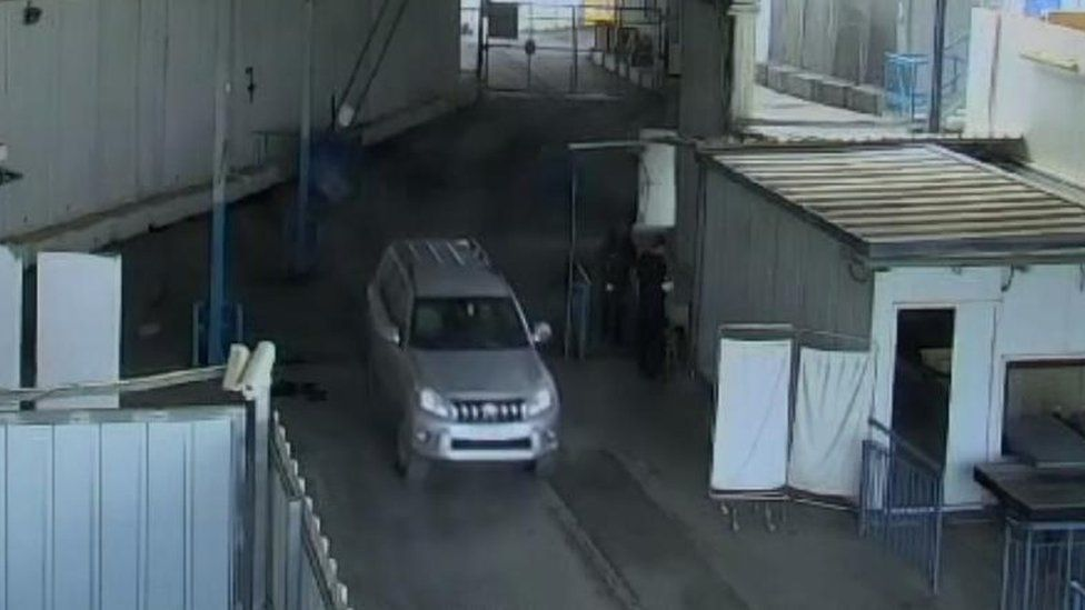Picture alleged to show Romain Franck in a diplomatic vehicle crossing into Israel from Gaza
