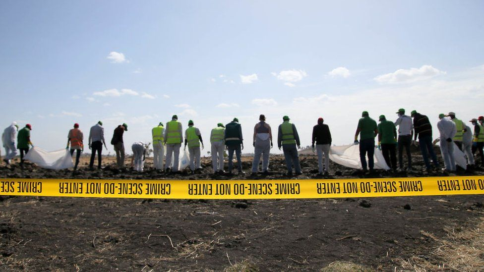 Investigators at the Ethiopian Airlines crash site