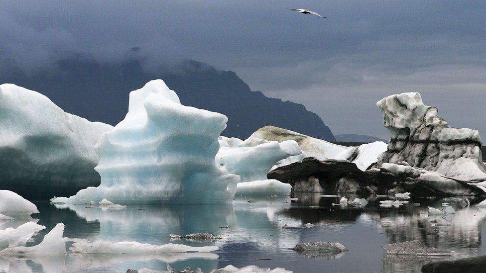 Blue icebergs in Jokulsarlon, the largest glacier lagoon in Iceland