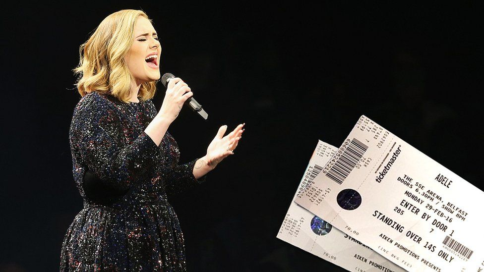 Composite image of Adele onstage with tickets for the first night of her world tour