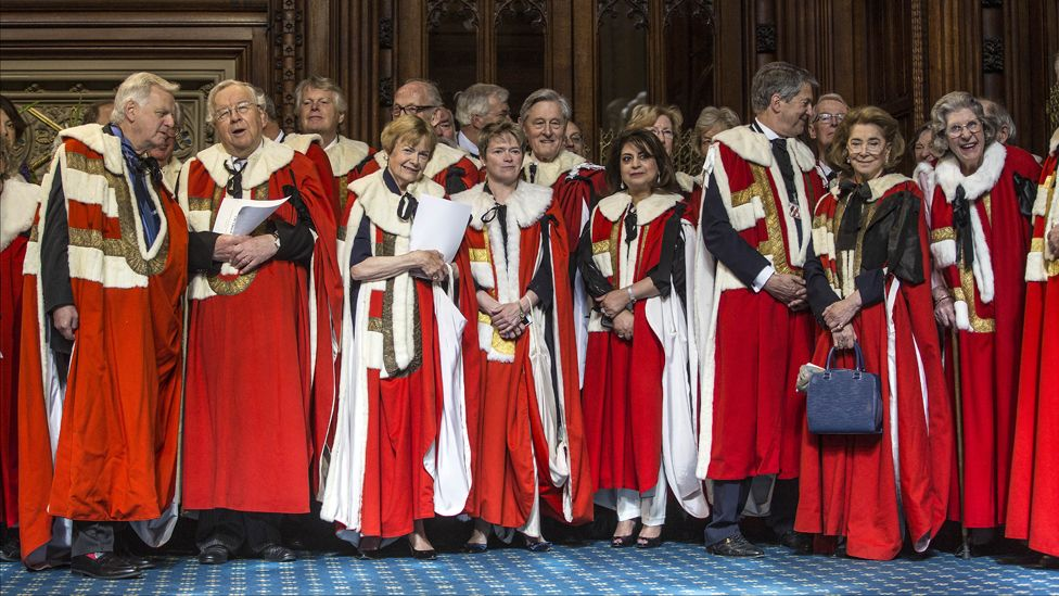 Peers milling around at the opening of the House of Lords, May 2015