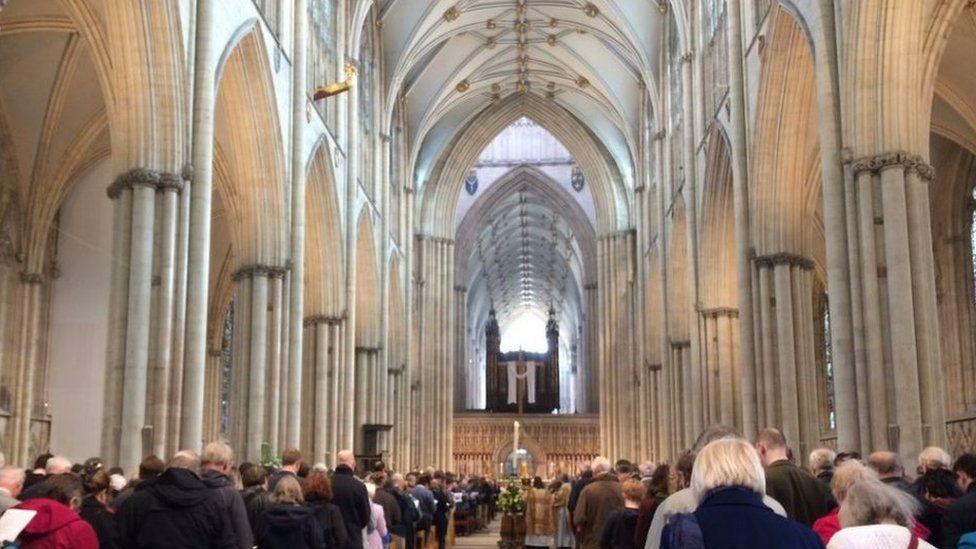 The congregation inside York Minster