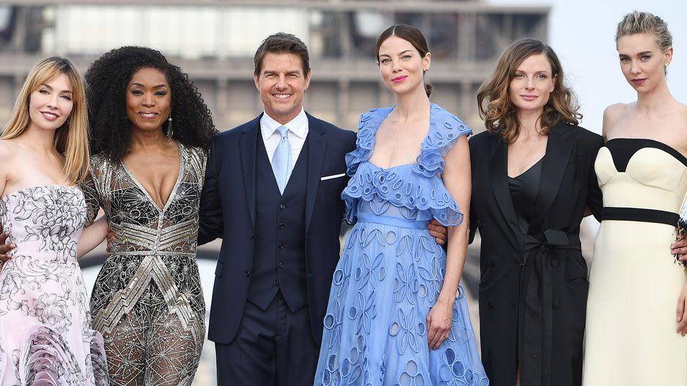 (L-R) Alix Benezech, Angela Bassett, Tom Cruise, Michelle Monaghan, Rebecca Ferguson and Vanessa Kirby