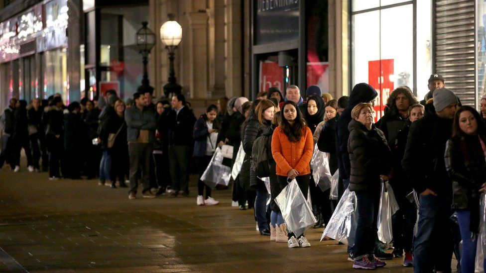 Shoppers queuing for Boxing Day sales in Princes Street, Edinburgh