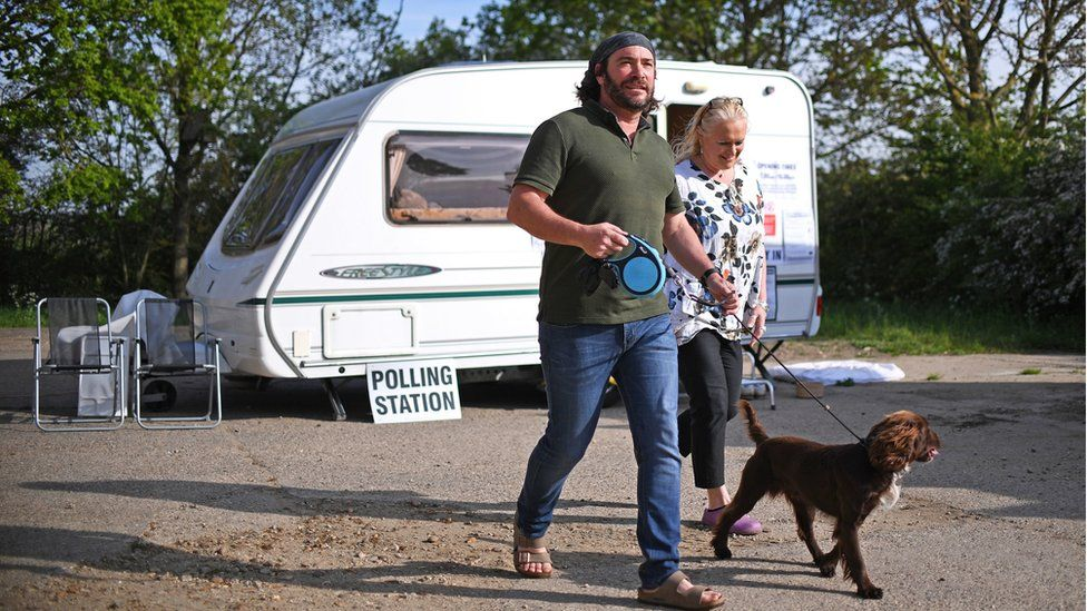 Caravan polling station in Leicestershire