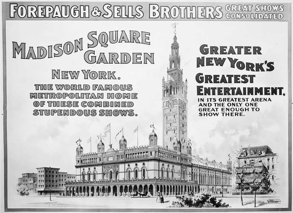 An 1890 poster advertising Madison Square Gardens